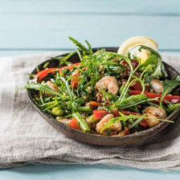 Warm Shrimp and Farro Salad with Green Beans, Sweet Bell Pepper, and Shallo