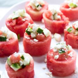 Watermelon, Cucumber and Feta Salad Cups