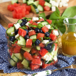 Watermelon Feta Salad with Blueberries and Cucumber