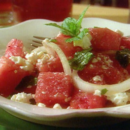 Watermelon Salad with Mint Leaves