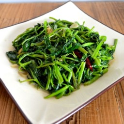 WATER SPINACH WITH GARLIC, GINGER, AND FERMENTED TOFU
