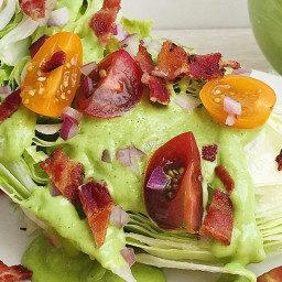 Wedge Salad with Tomato, Bacon, and Green Goddess Dressing