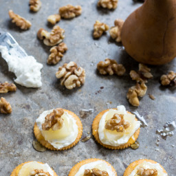 Whipped Goat Cheese with Sliced Pears and Walnuts, Drizzled with Honey on R