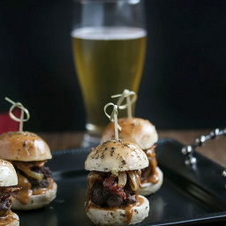Whiskey Beef Sliders with Caramlized Onions, Bacon and Homemade Buns