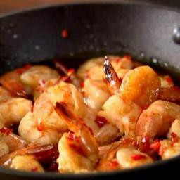 Whisky and chilli tiger prawns
