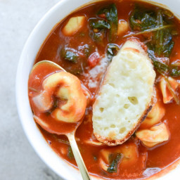 White Bean Tortellini Soup with Broiled Havarti Toasts