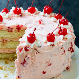 White Cake with Maraschino Cherry Frosting