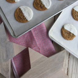 White Chocolate Dipped Chewy Ginger Cookies