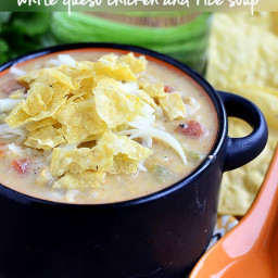 White Queso Chicken and Rice Soup