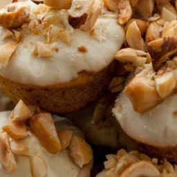 White Chocolate Dipped Mini Hazelnut-Pumpkin Muffins
