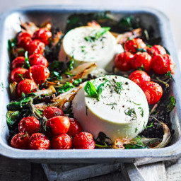 Whole baked ricotta with lentils and roasted cherry tomatoes