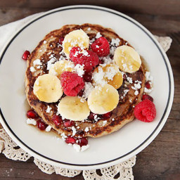 Whole Grain Pancakes with Raspberries & Chocolate Sauce