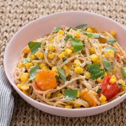 Whole Grain Spaghettiwith Corn, Cherry Tomatoes and Mascarpone Cheese