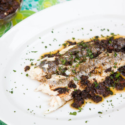 Whole Grilled Fish With Olive-Tomato Compote Recipe