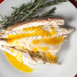 Whole Roasted Branzino With Tangerine-Fennel Vinaigrette Recipe