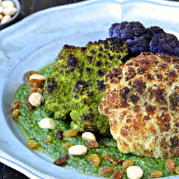 Whole Roasted Cauliflower with Marcona Almond Pesto