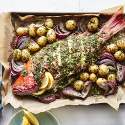 Whole Roasted Red Snapper with Potatoes and Onions