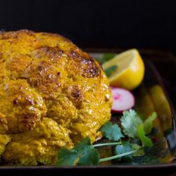 Whole Roasted Tandoori Cauliflower with Cilantro Onion Chutney