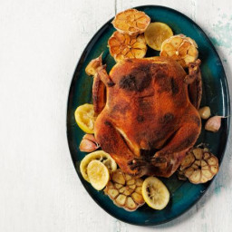Whole Spice-Rubbed Chicken with Roasted Garlic and Lemons