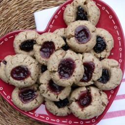 Whole Wheat-Almond Thumbprint Cookies