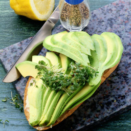 Whole-wheat bread with avocado slices