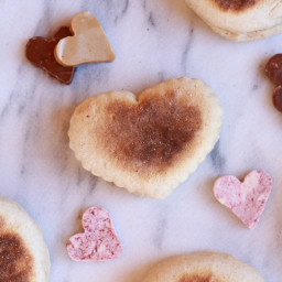 Whole Wheat English Muffins with Strawberry, Peanut Butter, Nutella Butters