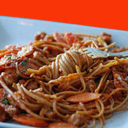 Whole Wheat Linguine With Andouille, Carrots And Tarragon