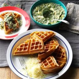 Whole Wheat Waffles with Chicken and Spinach Sauce Recipe