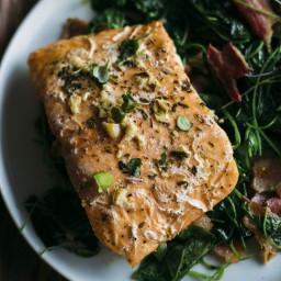 Whole30 Garlic Salmon with Watercress