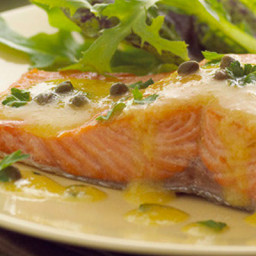 Wild Salmon Pan Roasted with Champagne-Caper Vinaigrette
