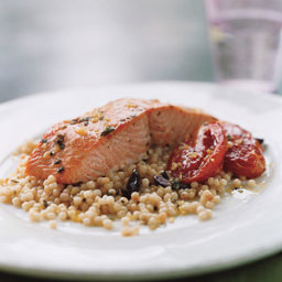 Wild Salmon with Pearl Couscous, Slow-Roasted Tomatoes, and Lemon Oregano O