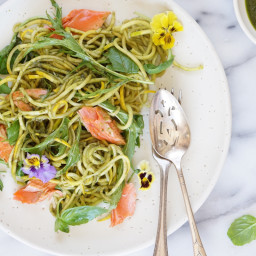 Wild Salmon with Zucchini Noodles, Baby Leaves and a Basil Dressing