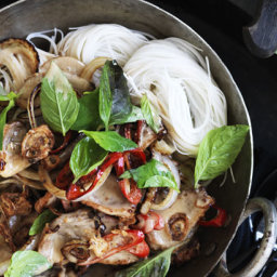 Wok-fried duck with coconut milk, Thai basil and vermicelli noodles