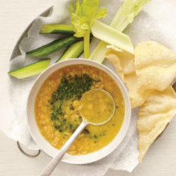 Yellow Lentil Soup with Cilantro Chutney