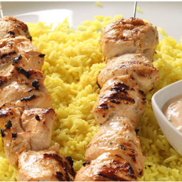 Yogurt Marinated Chicken Kabobs with Dill Sauce