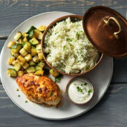 Yogurt-Marinated Chicken with Rice Pilaf, Roasted Zucchini, and Cilantro