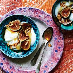 Yogurt with Fresh Figs, Honey, and Pine Nuts