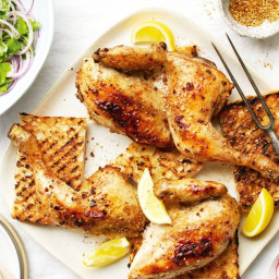 Za'atar chicken with zesty onion salad
