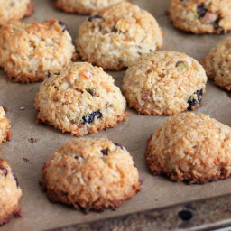 Zesty Coconut Macaroons with Cranberries and Pistachios for Kristy's Cookie