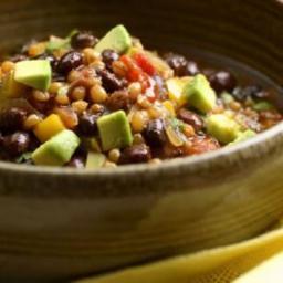 Zesty Wheat Berry-Black Bean Chili