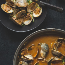 Zoodles and Clams in a Spicy Coconut Milk and Black Garlic Sauce