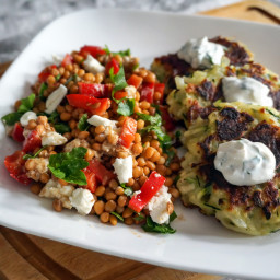 Zucchini & Potato Fritters with Lentil, Bell Pepper & Goat Cheese S