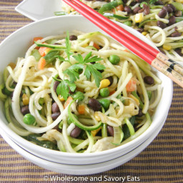 Zucchini and Diakon Noodles with Black Beans and Vegetables
