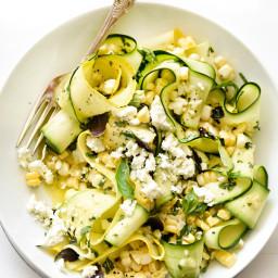 Zucchini and Fresh Corn Farmers' Market Salad with Lemon-Basil Vinaigrette