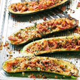 Zucchini Boats with Bacon Gremolata