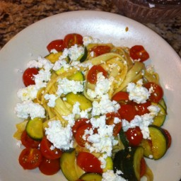 Zucchini, cherry tomato, and fresh ricotta pasta