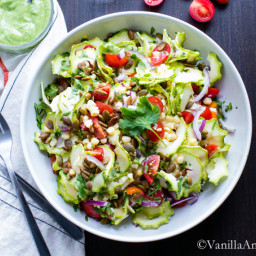 Zucchini Corn Tomato Salad with Avocado Lime Dressing