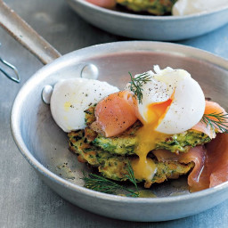 Zucchini fritters with smoked salmon and poached eggs