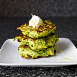 Zucchini Fritters with Steamed Broccoli