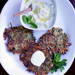 Zucchini Herb Fritters with Lemon Garlic Yogurt